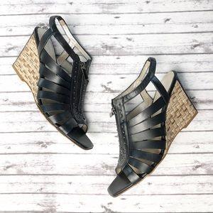 Aquatalia Leather Sandals Wedge Zip Front NWOT 10